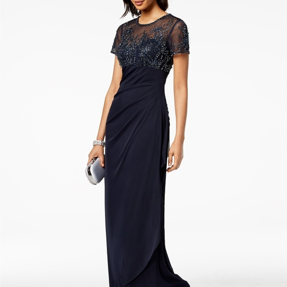 bb2aca58d55dd Xscape Dresses | Shortsleeve Beaded Draped Gown Navy | Poshmark